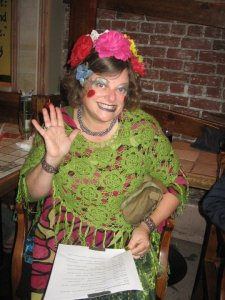 "Dressed as a ""Joy Clown"" MC-ing a show in Berkeley"